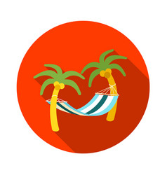 Hammock with palm trees on beach icon vacation vector