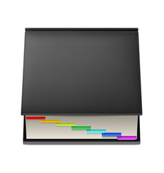 Black notebook with colorful markers isolated on vector
