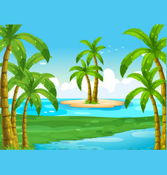 Ocean scene with coconut trees on island vector