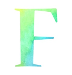 Watercolor blue-green colored alphabet vector