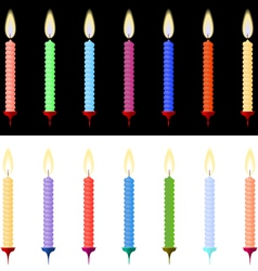 Set of burning candles for the holiday vector