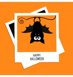 Instant photo with bat happy halloween card flat vector