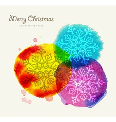 Merry christmas watercolor greeting card vector