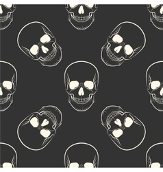 Seamless retro pattern skull vector