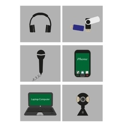 Set of flat icons - mobile technology vector