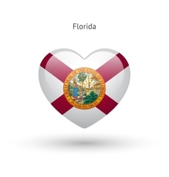 Love florida state symbol heart flag icon vector