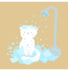 Cat take a shower with bubble vector