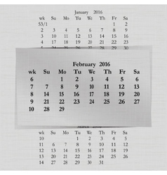 Calendar month for 2016 pages february vector