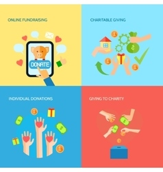 Giving hands 4 flat icons square banner vector