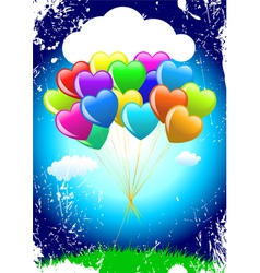 Cartoon heart balloons vector