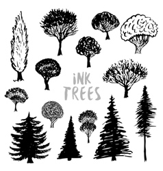 Trees silhouette  Inked hand drawn isolated vector image