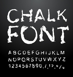 Chalk font alphabet written in white chalk letters vector
