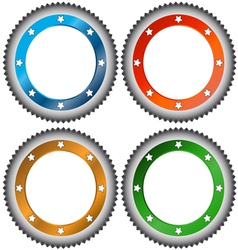 Four multi-colored stickers vector image