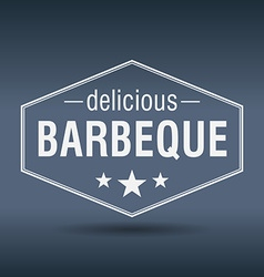 Delicious barbeque hexagonal white vintage retro vector