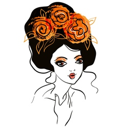 Beautiful girl with flowers in hair vector image