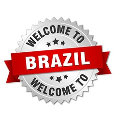 Brazil 3d silver badge with red ribbon vector