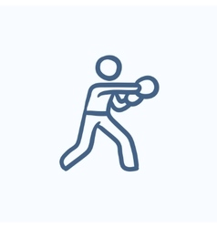 Male boxer sketch icon vector