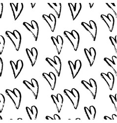 abstract seamless hearts pattern ink grunge vector image