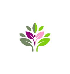 active people green leaf organic logo vector image vector image
