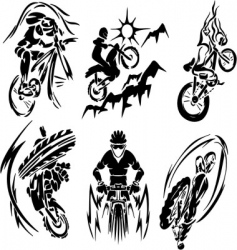 Bmx rider silhouettes vector