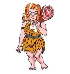 Cartoon image of cave woman vector