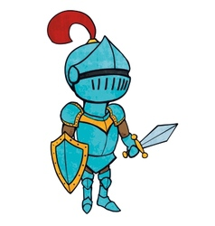 Cartoon knight in armour with sword and shield vector