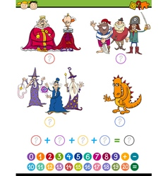 Cartoon math game for kids vector