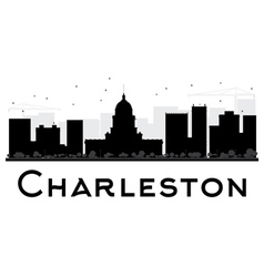 Charleston city skyline black and white silhouette vector