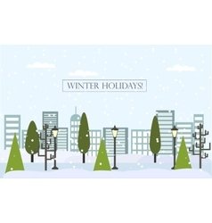 Chrismas winter flat landscape background new vector
