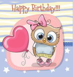 cute cartoon owl girl with balloon vector image vector image