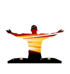 dj striped silhouette and record deck vector image