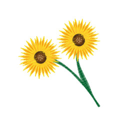 Drawing bouquet sunflower beuty vector