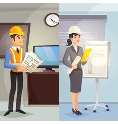 Engineer cartoon vertical banners vector