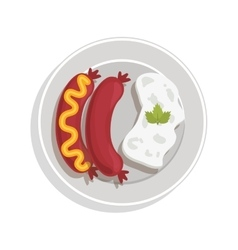 Food plate with sausaces and rice vector