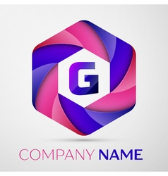 G letter colorful logo in the hexagonal on grey vector