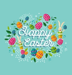 Happy easter spring time background vector