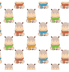 Hippo patterncute cartoon hippo in kawaii style vector