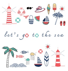 lets go to the sea vector image vector image