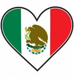 mexico heart flag vector image vector image