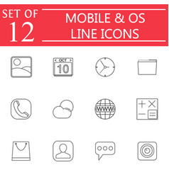 Mobile and os line icon set symbols collection vector