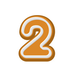 number 2 gingerbread font peppermint honey-cake vector image vector image
