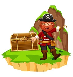 Pirate and wooden chest on island vector