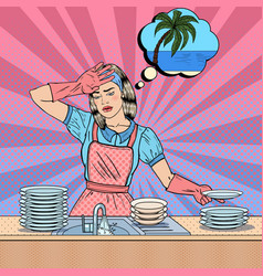 Pop art woman washing dishes vector