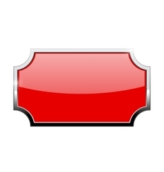 Red shiny plate with chrome frame vector image vector image