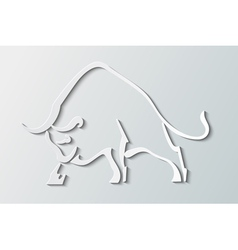 Silhouette wild bull on a gray background vector image