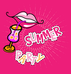 Summer party poster with lips vector