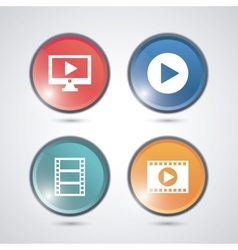 Video movie and media icon set vector image vector image