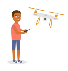 Young happy afro american man with quadrocopter or vector