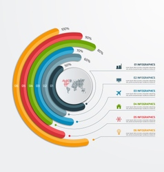 Circle infographic template with 6 processes vector