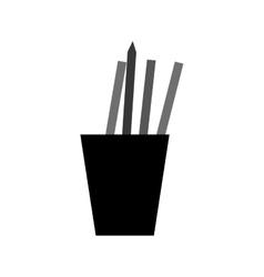 monochromatic cup pencils pens utensils working vector image